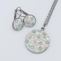 Zöld-rózsaszín opálos szett